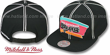 Spurs XL-LOGO SOUTACHE SNAPBACK Black Adjustable Hat by Mitchell and Ness