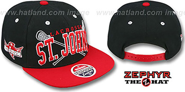 St. Johns LACROSSE SUPER-ARCH SNAPBACK Black-Red Hat by Zephyr