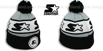 Starter 'S-STAR CLASSIC BOBBLE' Grey-Black Knit Beanie Hat