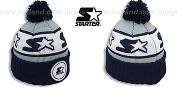 Starter S-STAR CLASSIC BOBBLE Grey-Navy Knit Beanie Hat