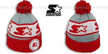 Starter S-STAR CLASSIC BOBBLE Grey-Red Knit Beanie Hat