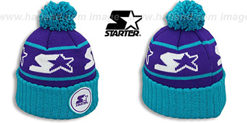 Starter S-STAR CLASSIC BOBBLE Purple-Teal Knit Beanie Hat