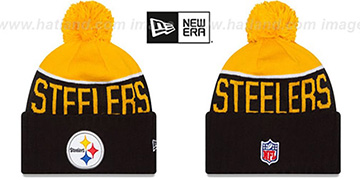 Steelers '2015 STADIUM' Black-Gold Knit Beanie Hat by New Era