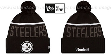 Steelers '2015 STADIUM' Black-White Knit Beanie Hat by New Era