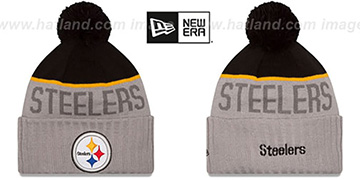 Steelers 2015 STADIUM Grey-Black Knit Beanie Hat by New Era