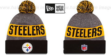 Steelers '2016 STADIUM' Black-Gold-Grey Knit Beanie Hat by New Era