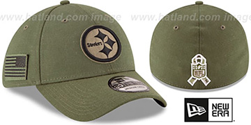 Steelers '2018 SALUTE-TO-SERVICE FLEX' Olive Hat by New Era