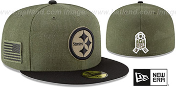 Steelers 2018 SALUTE-TO-SERVICE Olive-Black Fitted Hat by New Era