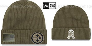 Steelers 2018 SALUTE-TO-SERVICE Olive Knit Beanie Hat by New Era