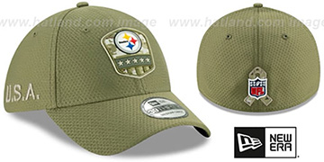 Steelers 2019 SALUTE-TO-SERVICE FLEX Olive Hat by New Era