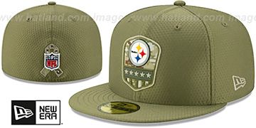 Steelers 2019 SALUTE-TO-SERVICE Olive Fitted Hat by New Era