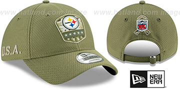 Steelers 2019 SALUTE-TO-SERVICE STRAPBACK Olive Hat by New Era