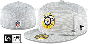 Steelers 2020 ONFIELD STADIUM Heather Grey Fitted Hat by New Era