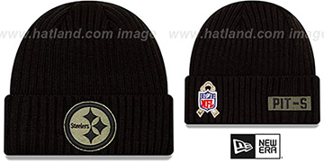Steelers 2020 SALUTE-TO-SERVICE Black Knit Beanie Hat by New Era