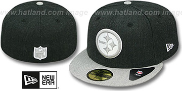 Steelers 2T-HEATHER ACTION Charcoal-Grey Fitted Hat by New Era
