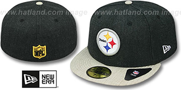 Steelers 2T-HEATHER ACTION Charcoal-Oatmeal Fitted Hat by New Era