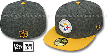 Steelers 2T NFL MELTON-BASIC Grey-Gold Fitted Hat by New Era