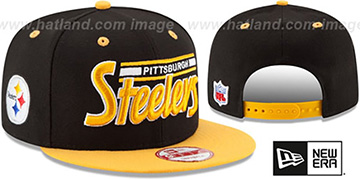 Steelers '2T RETRO-SCRIPT SNAPBACK' Black-Gold Hat by New Era
