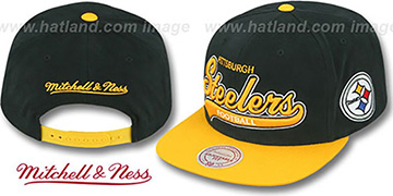 Steelers 2T TAILSWEEPER SNAPBACK Black-Gold Hat by Mitchell and Ness