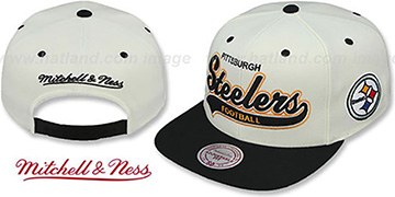 Steelers '2T TAILSWEEPER SNAPBACK' White-Black Hat by Mitchell & Ness