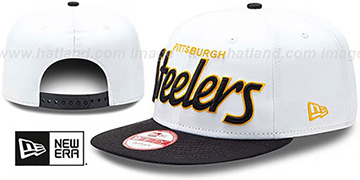 Steelers '2T TEAM-SCRIPT SNAPBACK' White-Black Hat by New Era