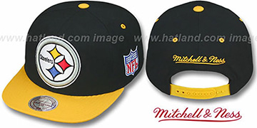 Steelers '2T XL-LOGO SNAPBACK' Black-Gold Adjustable Hat by Mitchell and Ness