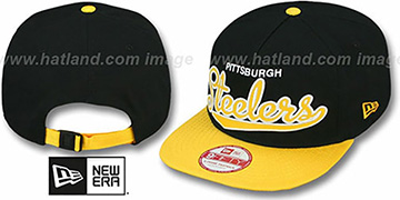 Steelers 'BALLISTIC SCRIPT A-FRAME STRAPBACK' Black-Gold Hat by New Era