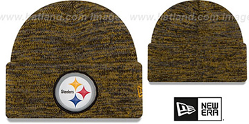Steelers BEVEL Black-Gold Knit Beanie Hat by New Era