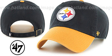 Steelers 'CLEAN-UP STRAPBACK' Black-Gold Hat by Twins 47 Brand