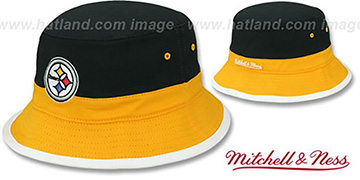 Steelers 'COLOR-BLOCK BUCKET' Black-Gold-White Hat by Mitchell and Ness