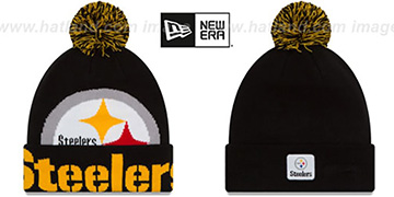 Steelers COLOSSAL-TEAM Black Knit Beanie Hat by New Era