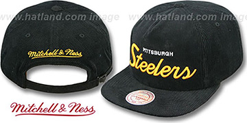 Steelers 'CORD-SCRIPT STRAPBACK' Black Hat by Mitchell & Ness