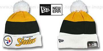 Steelers CUFF-SCRIPTER White-Black-Gold Knit Beanie Hat by New Era
