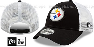 Steelers FRAYED LOGO TRUCKER SNAPBACK Hat by New Era
