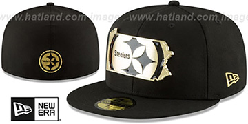 Steelers 'GOLD STATED METAL-BADGE' Black Fitted Hat by New Era
