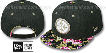 Steelers HEATHER BLOOM SNAPBACK Charcoal-Black Hat by New Era