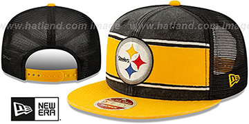 Steelers HERITAGE-BAND TRUCKER SNAPBACK Black-Gold Hat by New Era