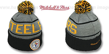 Steelers 'HIGH-5 CIRCLE BEANIE' Grey-Black by Mitchell and Ness