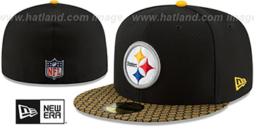 Steelers HONEYCOMB STADIUM Black Fitted Hat by New Era