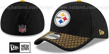 Steelers HONEYCOMB STADIUM FLEX Black Hat by New Era