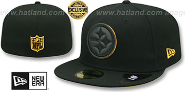 Steelers LEATHER POP Black Fitted Hat by New Era