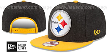 Steelers LOGO GRAND SNAPBACK Charcoal-Gold Hat by New Era