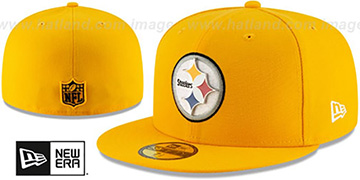 Steelers METAL-N-THREAD Gold Fitted Hat by New Era