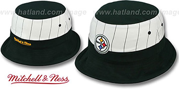 Steelers MID-PINSTRIPE BUCKET Black-White Hat by Mitchell and Ness