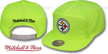 Steelers 'NEON CAMPER SNAPBACK' Lime Hat by Mitchell & Ness