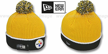 Steelers 'NFL FIRESIDE' Gold-Black Knit Beanie Hat by New Era