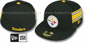 Steelers NFL JERSEY-STRIPE Black Fitted Hat by New Era