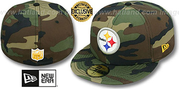 Steelers 'NFL TEAM-BASIC' Army Camo Fitted Hat by New Era
