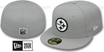 Steelers 'NFL TEAM-BASIC' Grey-Black-White Fitted Hat by New Era