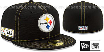 Steelers ONFIELD SIDELINE ROAD Black Fitted Hat by New Era